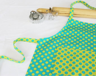 Aqua & Green Dot Child Apron