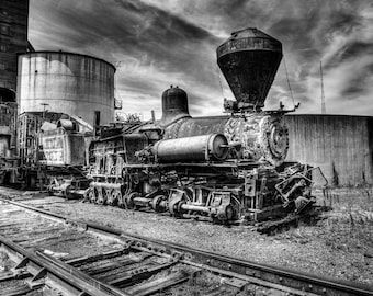 Rust and Bolts, Steam Engine, 8x10 Fine Art Black and White Photograph