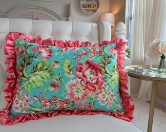 Coral Floral Standard Sham, Beautiful Standard Shams, Coral Sham, Coral Toddler Sham, Girl Bedding, Twin Bedding, Queen Bedding