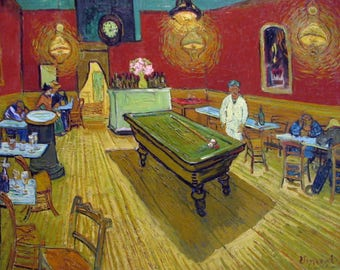 Vincent Van Gogh 1984 LITHOGRAPH +COA. The Night Café. Superb Vintage Art Print. Unique and EXCLUSIVE Gift of Extremely Rare Art