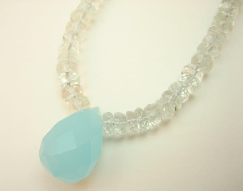 Aquamarine and blue chalcedony gemstone necklace, silver and blue chalcedony necklace, Gift for Her, bridesmaids gift, layered necklace
