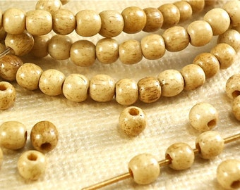 40 Bone Beads 3 - 4mm Round Tea Dyed Brown Natural Beads small tiny little accent beads