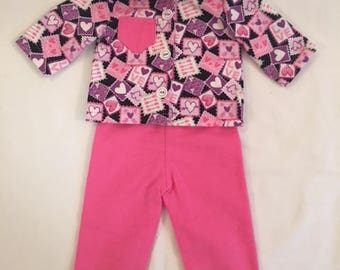 Pink Heart Stamp Flannel Pajamas