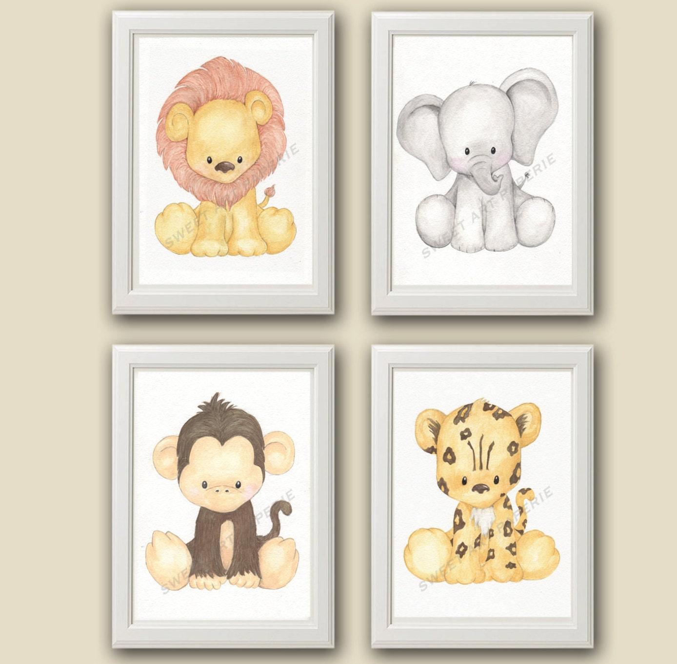 Safari Nursery Decor Jungle Theme Nursery Nursery Artwork: Safari Nursery Art Watercolor Nursery Decor Set Of 4
