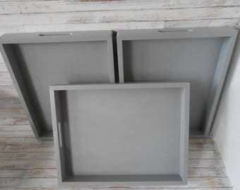 Gray Wood Serving Trays- 3 Stacking Trays-Coffee Bar Serving Trays-Farmhouse Trays-Wood Handpainted Trays -Stacking Wood Trays- Entertaining