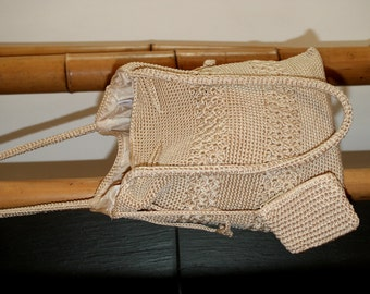 Crochet Vintage bag, 80 's, summer bag, cotton, Beige, Shoulder bag, Boho, Hippie, Gypsy, Beach bag, summer bag, cotton bag