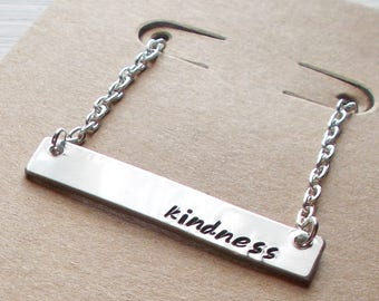 Hand Stamped Aluminum Bar and Silver Plated Necklace With Inspirational Words Can Be Customized and Personalized