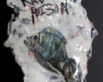 """Rad Poison. Ceramic Sculpture. Pop Surrealism. Fallout. Kathleen McGiveron. 7.5""""h x 6""""w x 1""""d"""