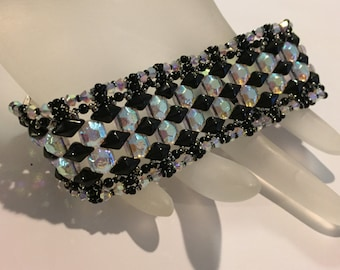 PATTERN Harlequin bracelet Tutorial Diamond Duo or Gem Duo Honeycomb
