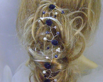 Midnight Blue Rose Hairvine - More Colors Now Available!!
