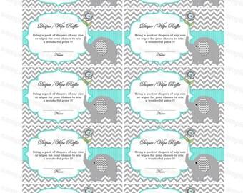 Elephant Baby Shower Diaper Raffle Ticket Baby Shower Games Diapers Raffles Printable Digital Files (01)