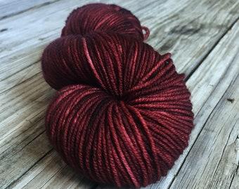 You Had Me At Merlot Red Wine Yarn Hand Dyed Worsted Weight Yarn 218 yards Superwash Merino Wool Treasured Warmth Hand red wine brick red