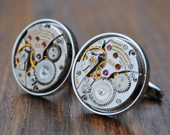 Longines Watch Movement Cufflinks - Steampunk Silver Vintage Wedding Groom Gift Mens Christmas Present