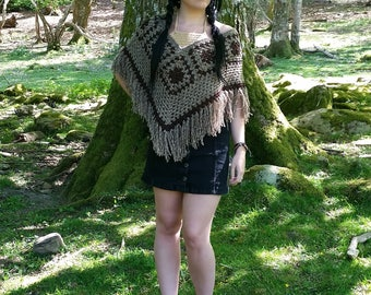 Brown cropped poncho
