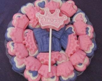 Pretty Princess Tiara's Crowns and hearts chocolates candy tray