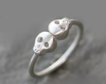 Double Baby Skull Ring in Sterling Silver