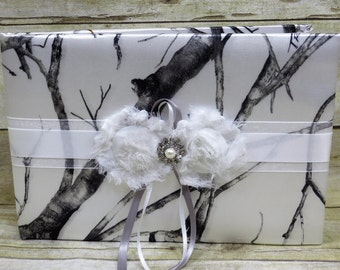White Camo Guest Book, True Timber White Camo Wedding Guest Book, customize guestbook