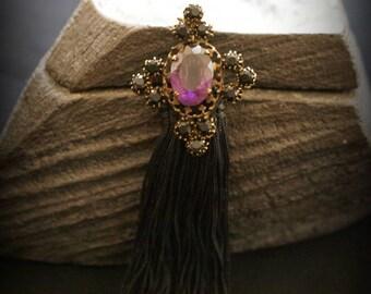 Vintage Black tassel and Cabochon brooch