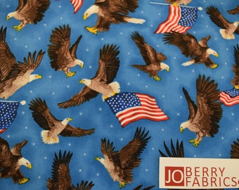 Eagles and Flags from America Print Collection by Oasis Fabrics. JoBerry Fabrics, Fabric by the Yard.