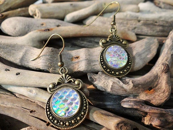 AB Clear Rainbow Opal Mermaid Tail Little Scale Scales Dragon Dragons Iridescent Earrings Bronze ToneMermaids Siren