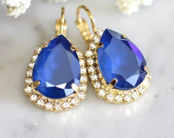 Blue Earrings, Royal Blue Earrings,  Bridal Blue Earrings, Swarovski Royal Blue Earrings, Bridal Earrings, Bridesmaids Earrings,Gift for her