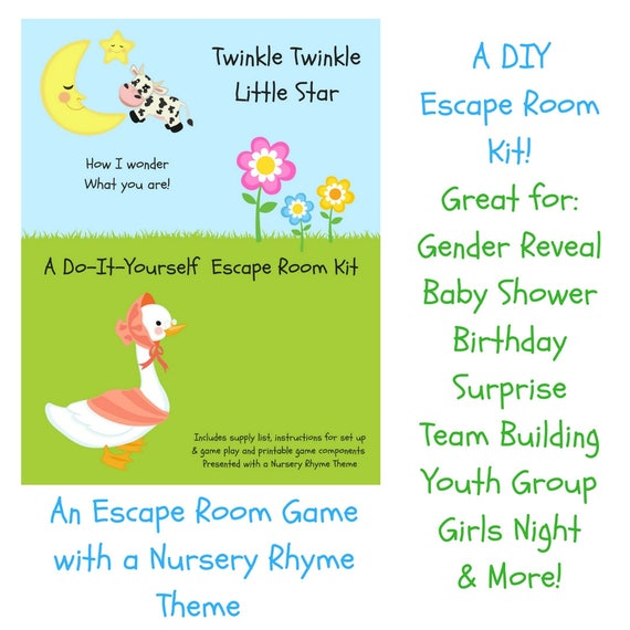 Twinkle twinkle nursery rhyme diy escape room kit gender twinkle twinkle nursery rhyme diy escape room kit gender reveal birthday surprise family friendly youth group baby shower party game solutioingenieria Image collections