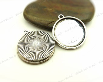 10 Cabochon Settings Antique Silver Tone - Fits 20mm Cab, Round Bezel Trays, Cameo Base, Pendant Blanks - BA36