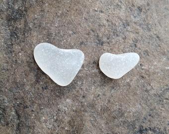 Lake Erie heart shaped beach glass 2 pieces