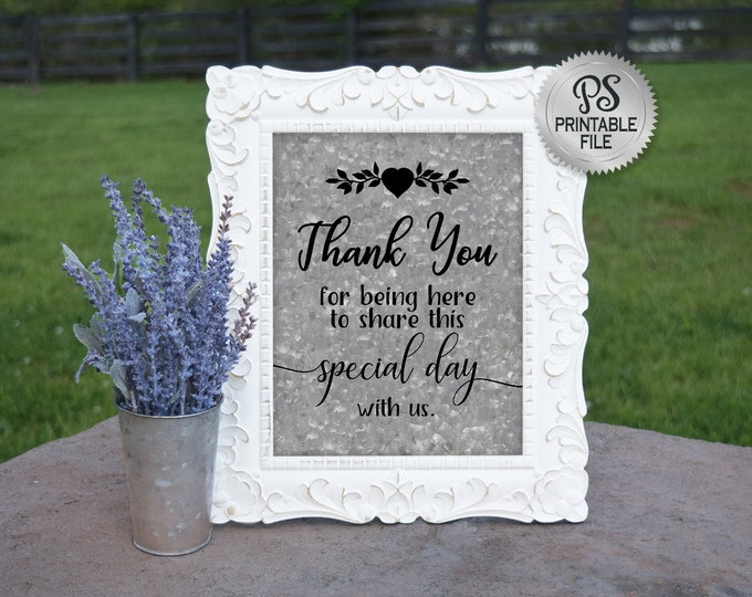 Country Wedding Sign | PRINTABLE Wedding sign, Thank You Wedding Sign, Wedding Thank you, DIY Wedding Printable, Instant Download File