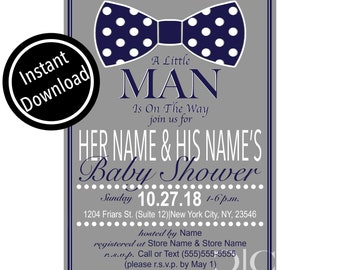 Baby Shower Navy Bow Tie Invitation (5x7/ Made To Order)