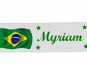 White girl Brazil personalized with name banner