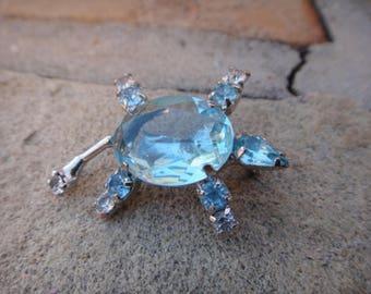 Vintage VTG Stunnine Blue Turtle Brooch Pendant Pin