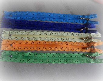 zippers, lace, set of 5 colors mixed 20 cm