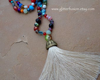 Hand Knotted Rainbow Glass Beads Long Layering Necklace, Boho Festival Colorful Unique Statement Necklace, Long Beige Creme Tassel Necklace