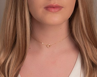 Delicate Gold Necklace Choker, Delicate Sterling Silver or Gold Karma Choker, Gold or Silver Circle Choker, Minimal Choker Necklace