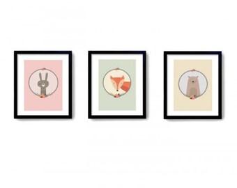 Woodland Animals Trio Print Wood land Nursery Print