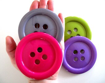 """GIANT 3.5"""" Buttons - 85mm Plastic Buttons- Huge Buttons - Many Colors"""
