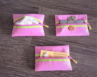 Zippered Pouch, Tissue Holder, Business Card Holder, Credit Card Holder, Coin Pouch in Golden Palm Tree on Pink