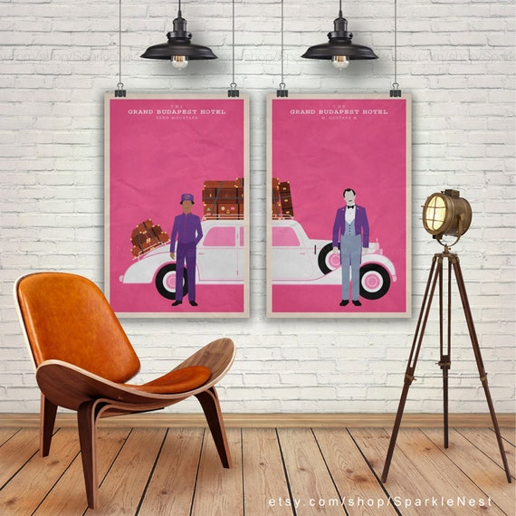 The Grand Budapest Hotel. Set Of 2 Prints. Wes Anderson Print. Zero, M Gustave. Pop Culture &Amp; Modern Home Decor Poster. Item No. 171 by Etsy