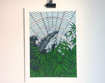 Kew Gardens Palm House - Print from original papercut art