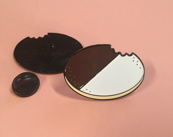 Black and White Cookie Enamel Pin/ Lapel Pin