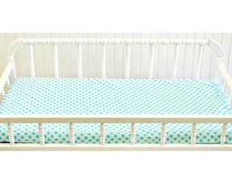 Changing Pad Cover | Indigo Summer Aqua and White