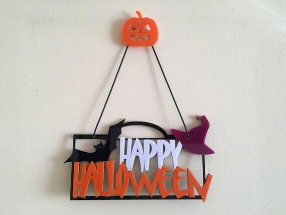 Happy Halloween Door sign Halloween hat Halloween party favors Halloween gift Halloween party Hanging ornament Black bats Halloween signs