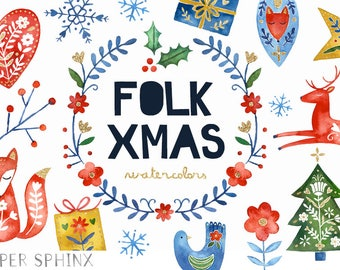 Watercolor Folk Christmas Clipart   Holiday Clipart - Scandinavian / Nordic Christmas - Red, Blue and Gold - Instant Download PNG files