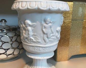 Italian porcelain cherub vase