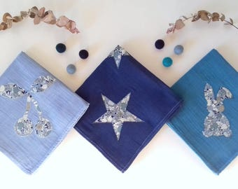 Trio of swaddling cotton Navy Blue 60x60cm, teal, steel blue and Liberty
