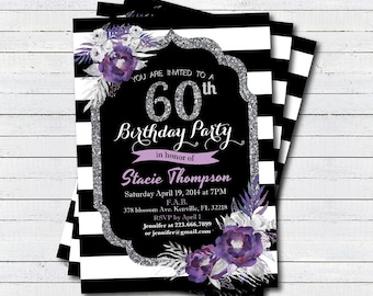 Jennifer ball on etsy 60th birthday invitation elegant purple flower 50th birthday invitation french black and white stripe filmwisefo