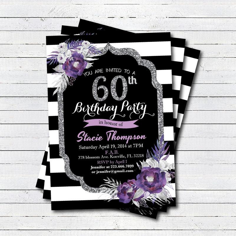 60th birthday invitation. Elegant Purple flower 50th birthday