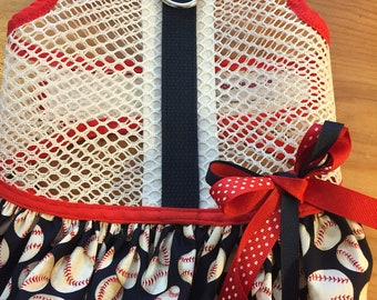 Small Dog Harness, Baseball print breathable mesh ruffle harness, Made in USA