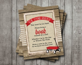 Boy Baby Shower Book Request Card Wagon Red Burlap Wood Rustic Bring A Book Printable Instant Download Digital File